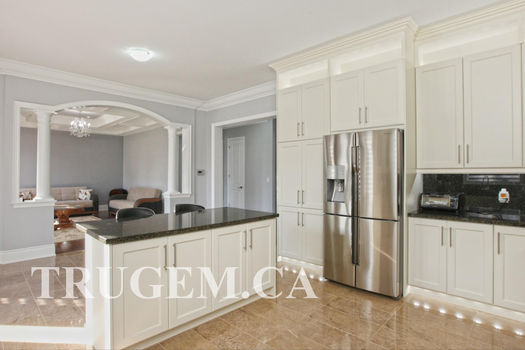off white cabinets with dark countertops