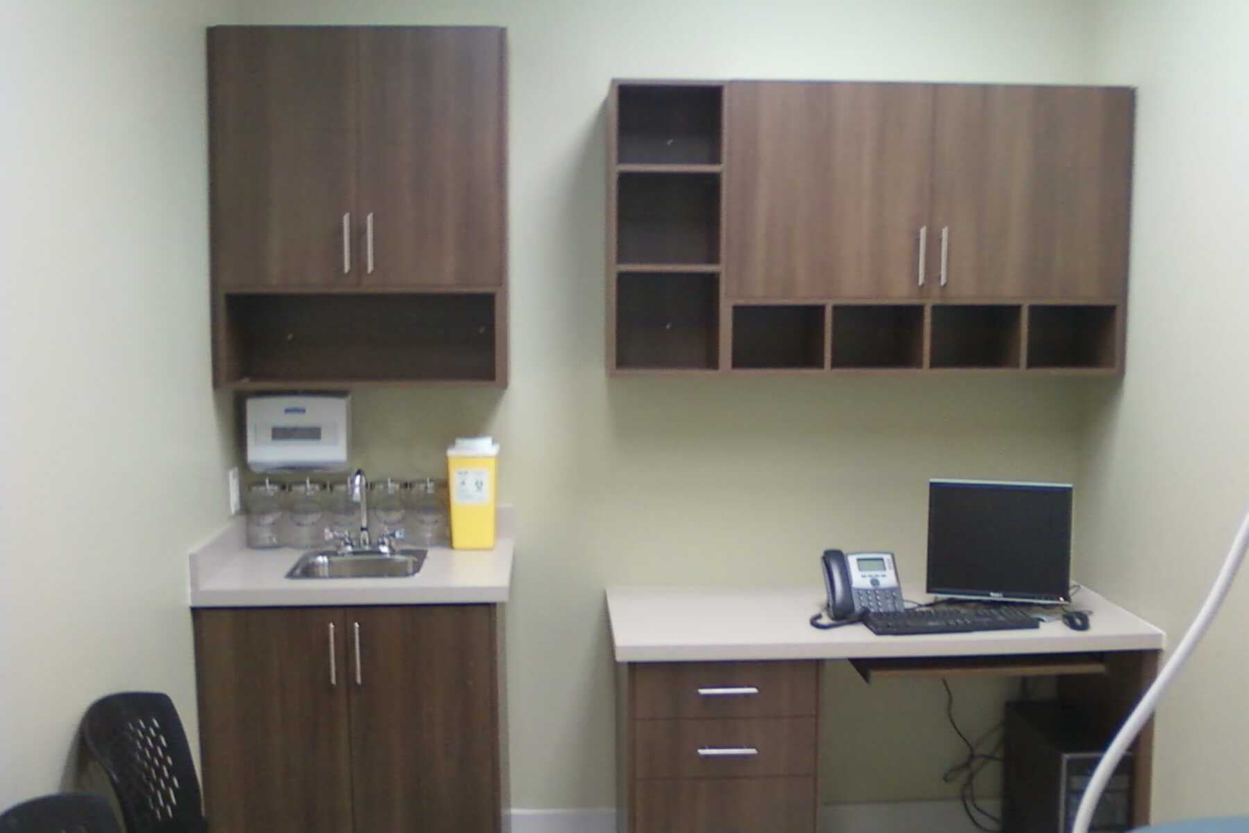 cabinets and desk
