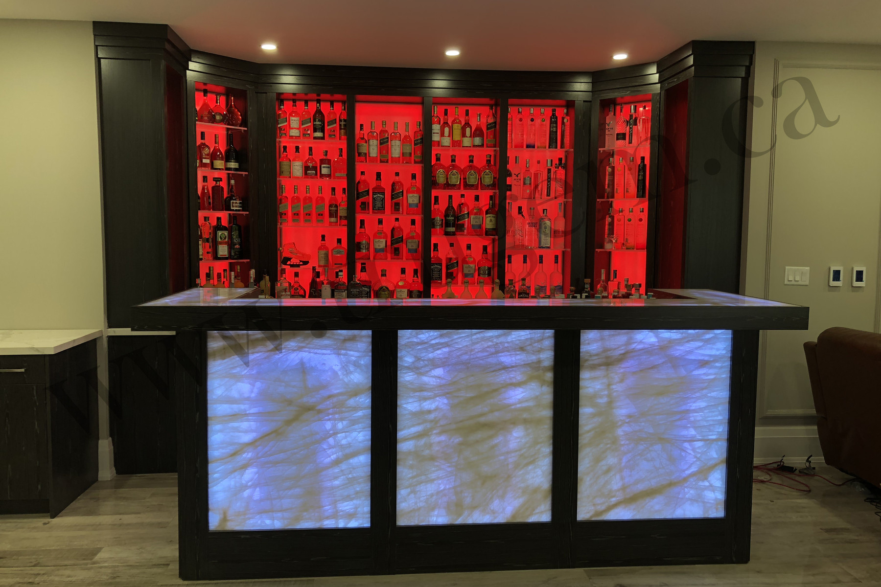 red shade designer home bars