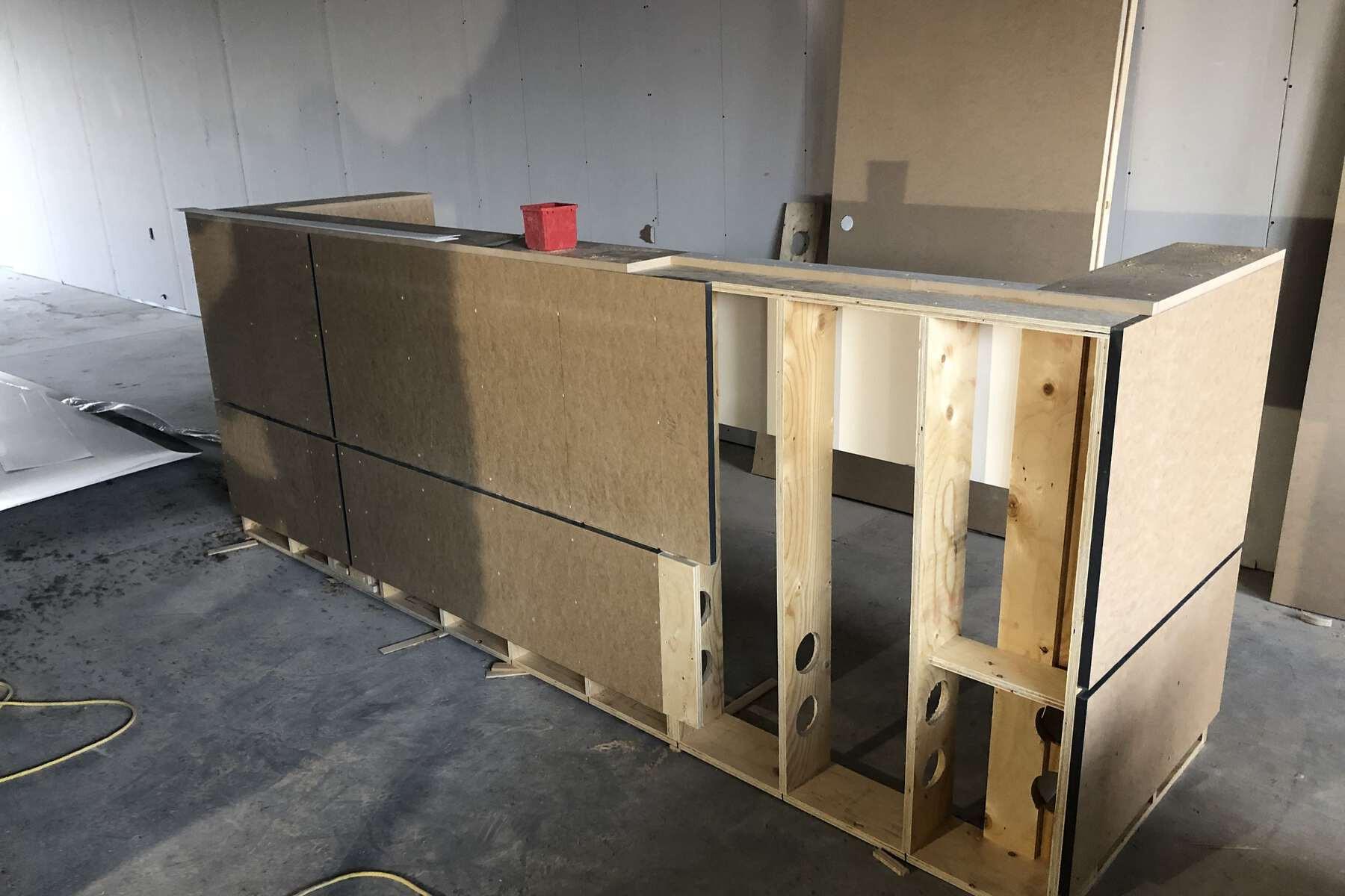 standing reception desk design