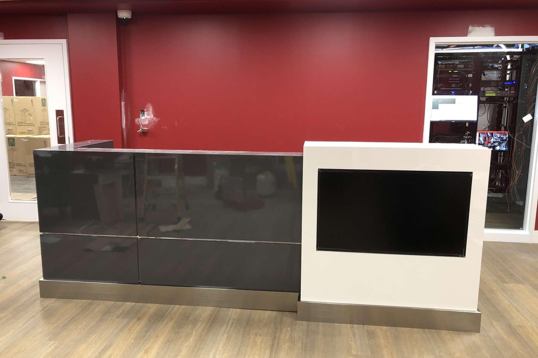 black reception desk