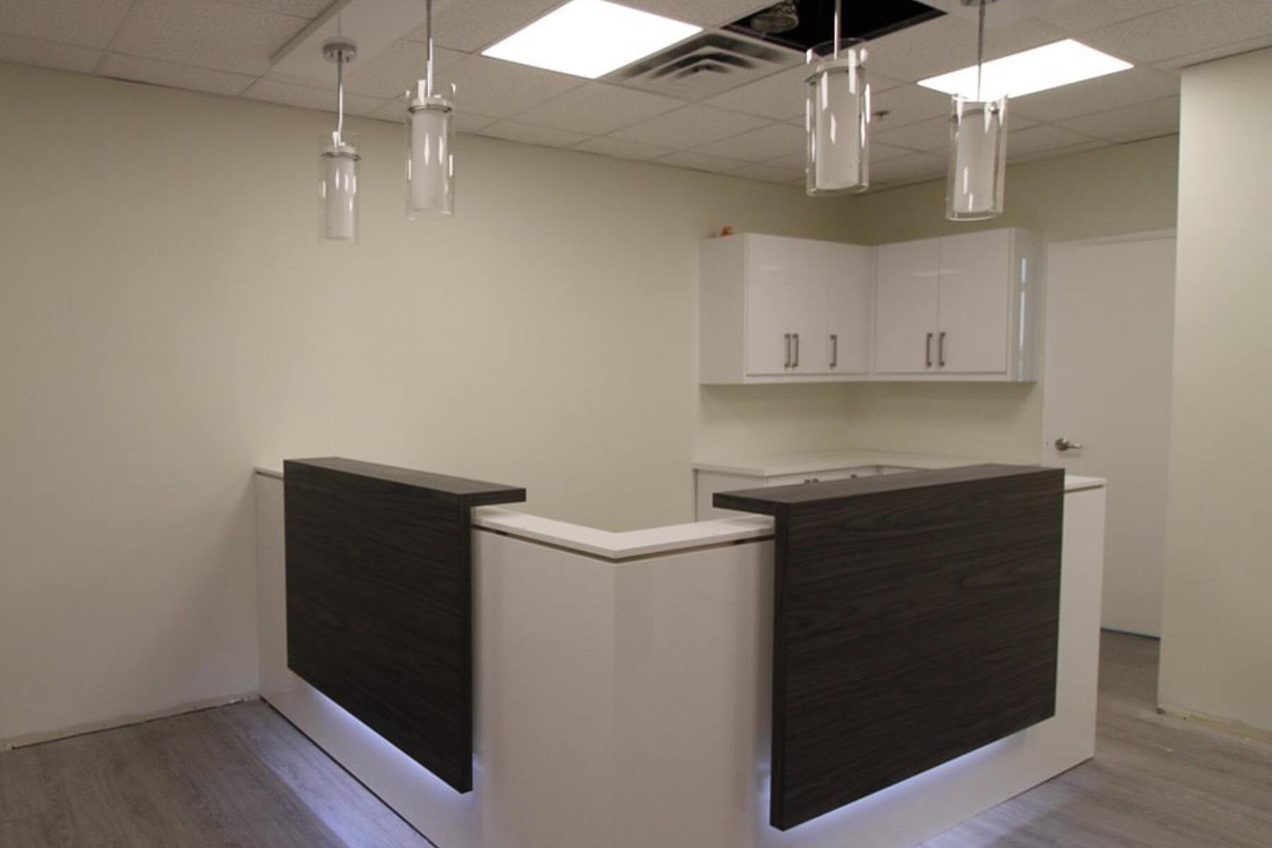 modern office reception desk