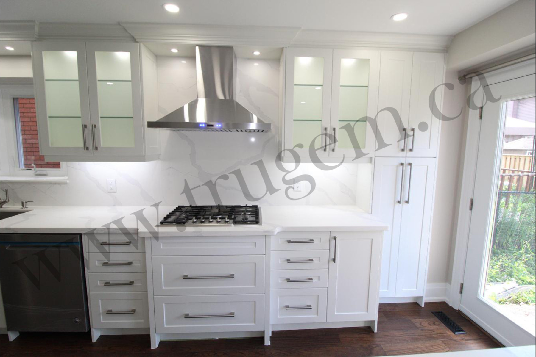 white cabinets of contemporary kitchen