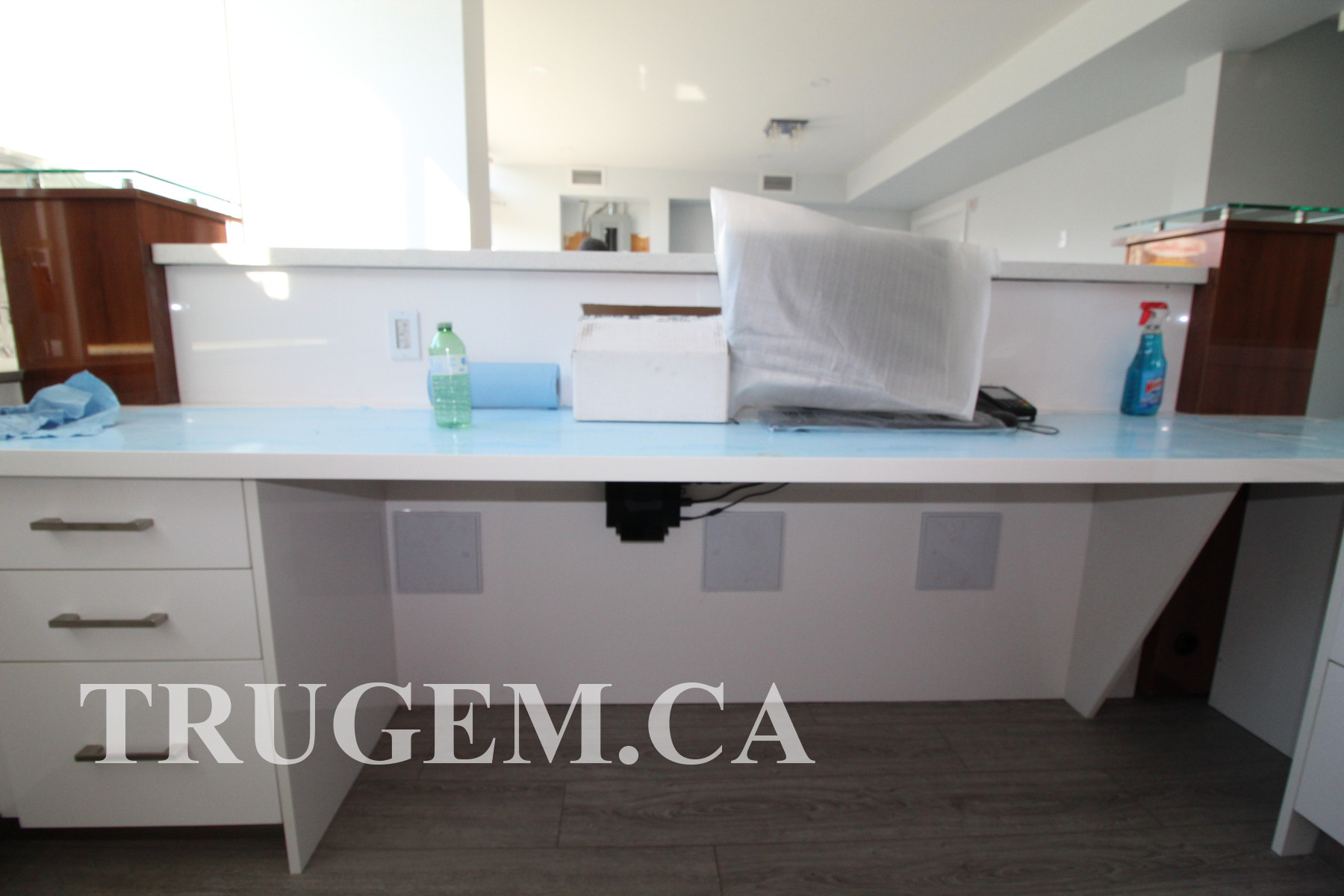 White Cabinets Reception Desk